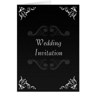 Barocke Hochzeit laden Schwarzes u. Weiß ein Karte