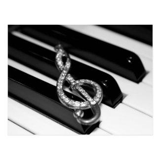 Barre de piano avec la G-clef Carte Postale
