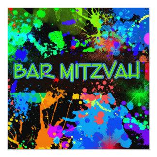 Barre Mitzvah, éclaboussure de peinture, amusement Carton D'invitation 13,33 Cm