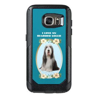 Bärtiger Collie auf aquamarinem Blumen OtterBox Samsung Galaxy S7 Hülle