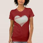 Base-ball américain dans une forme de coeur t-shirt