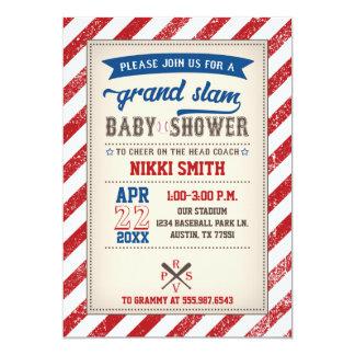 Baseball-Baby-Duschen-Einladungs-Vintages rotes Karte