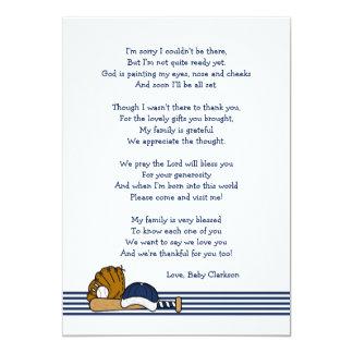 Baseball-Babyparty danken Ihnen, mit Gedicht zu Karte