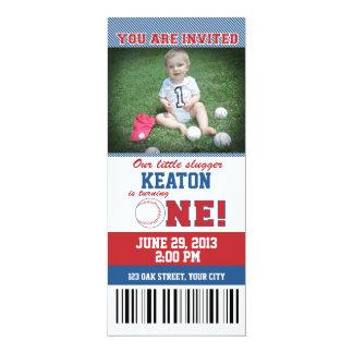 Baseball-erste Geburtstags-Einladung 10,2 X 23,5 Cm Einladungskarte