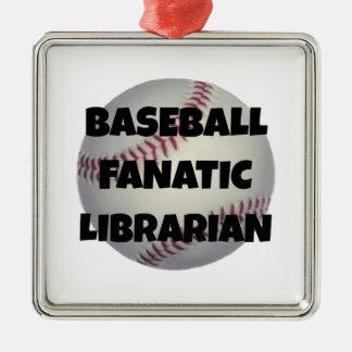 Baseball-Fanatiker-Bibliothekar Silbernes Ornament