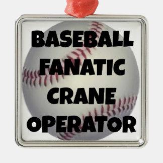 Baseball-fanatischer Kran-Betreiber Silbernes Ornament