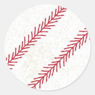 Baseball-Stich-Aufkleber Runder Aufkleber