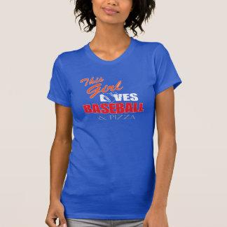 Baseballt-shirt der Frauen - Baseball und Pizza T-Shirt