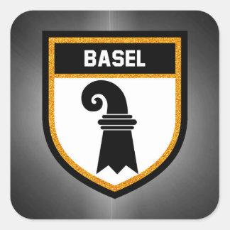 Basel-Flagge Quadratischer Aufkleber