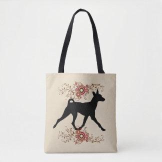 Basenji Hund u. BlumenTaschen-Tasche Tasche