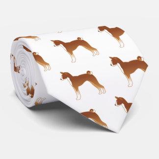 Basenji Hundezucht-Illustrations-Silhouette Krawatte