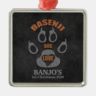 Basenji Hundezucht-Weihnachtsverzierung Quadratisches Silberfarbenes Ornament