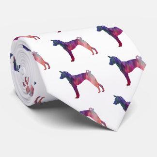Basenji HundGeo Muster-Silhouette-Rosa Bedruckte Krawatten