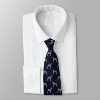 Basenji Silhouette-Muster-Blau Krawatte