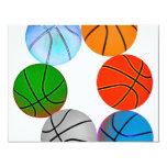 Basket-balls multiples carton d'invitation 10,79 cm x 13,97 cm