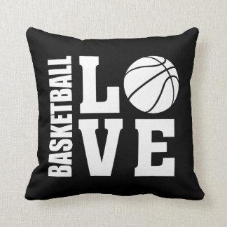 Basketball-Liebe-Schwarzes Kissen