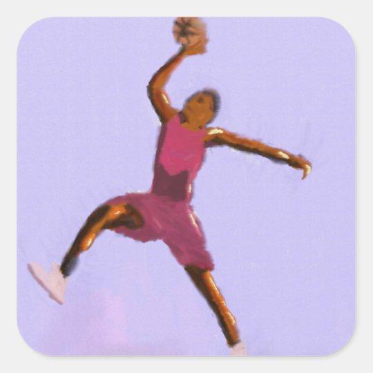 Basketball-Spiel-Kunst Quadratischer Aufkleber
