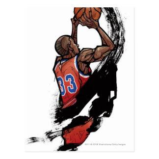 Basketball-Spieler, der Ball hält Postkarte