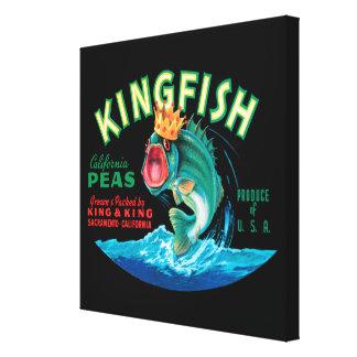 Bass-Fische, die eine Krone auf einem schwarzen Leinwanddruck