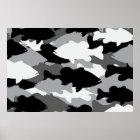 Bass-Fischen-Schwarz-Camouflage Poster