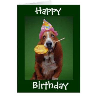 Basset Hound-Geburtstags-Lutscher Grußkarte