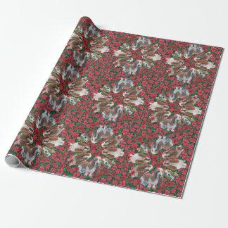 Basset Hound-Poinsettia-WeihnachtsPackpapier Geschenkpapier