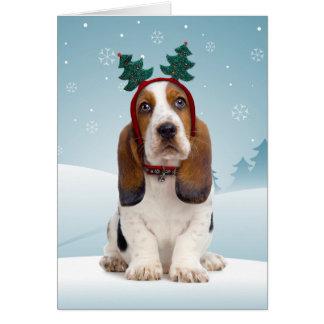 Basset Hound-Weihnachtskarte Karte
