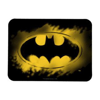 Batman-Symbol | schwarzes und gelbes Logo Eckiger Magnet