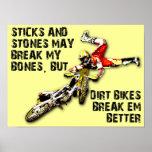 Bâtons et affiche drôle de motocross de vélo de sa