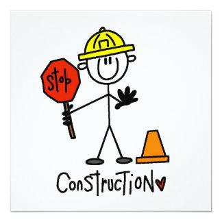 Bau-Arbeitskraft-Strichmännchen Quadratische 13,3 Cm Einladungskarte