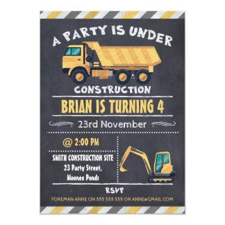 Bau-LKW-Tafel-Geburtstags-Einladung Karte