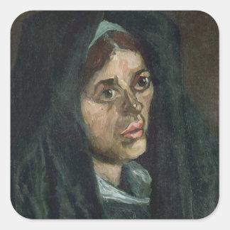 Bauer Vincent van Goghs   mit Moosgrünschal Quadratischer Aufkleber