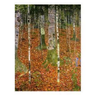 Bauernhaus mit Birken-Bäumen Postkarte
