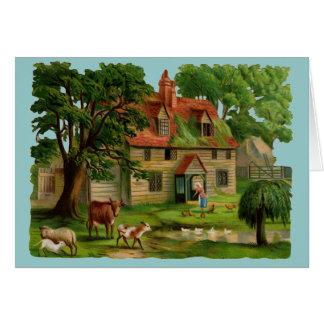 Bauernhof-Haus mit Hühnern Karte