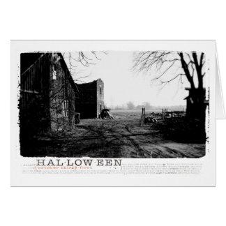 Bauernhof-Hausphotographie Halloweens Spuk Grußkarte