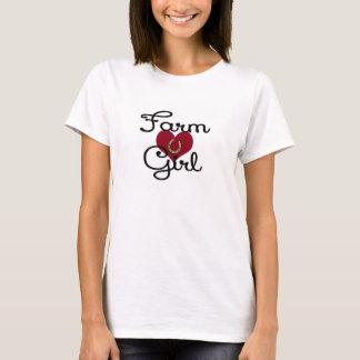 Bauernhof-Mädchen-Herz-Shirt-Hufeisen T-Shirt