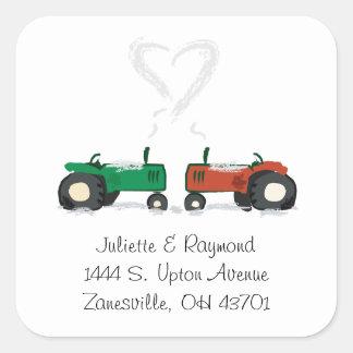 Bauernhof-Traktor-Hochzeits-Umschlag Aufkleber