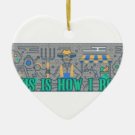 Bauers-Leben, wie ich lustiges rolle Keramik Herz-Ornament