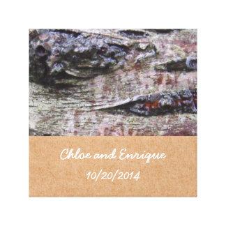 Baum-Barken-Foto-personalisierte Hochzeit Leinwanddruck