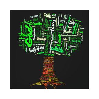 Baum der Leben-Wort-Wolke Leinwanddrucke