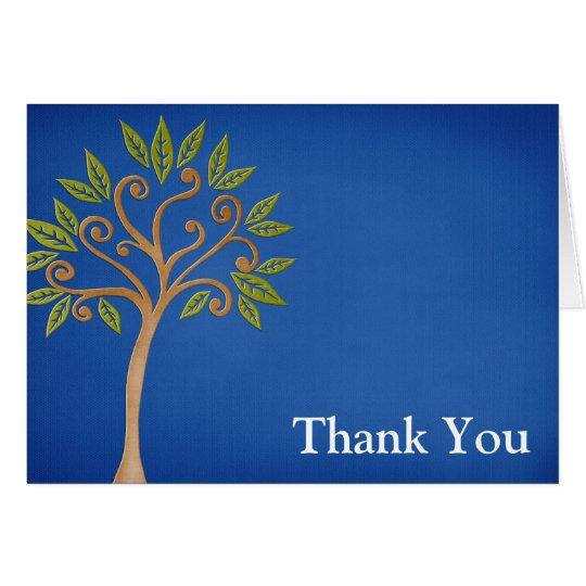 Baum des Leben-Wirbels-Blaus danken Ihnen Mitteilungskarte