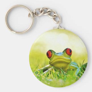 Baum-Frosch mit Rot mustert Keychain Schlüsselanhänger