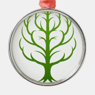 Baum-Gehirn-Konzept Rundes Silberfarbenes Ornament