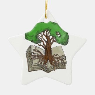 Baum gewurzelt auf Buch-Tätowierung Keramik Ornament