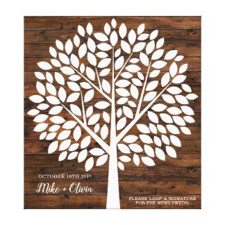 Baum-Hochzeits-Gast-Buch-Alternative | 120 Blätter Leinwanddruck