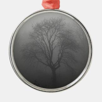 Baum im Nebel Silbernes Ornament