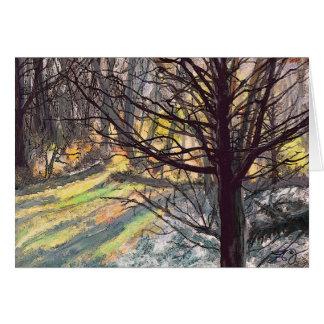 Baum-im Sonnenlicht Kunst-Gruß-Karte Karte