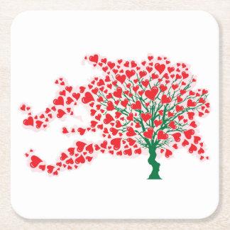Baum im Wind mit Herzen in den roten Farben Rechteckiger Pappuntersetzer