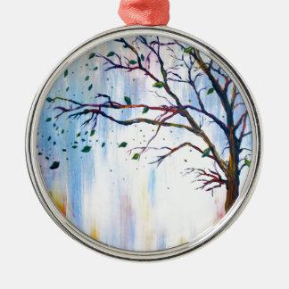 Baum im Wind Rundes Silberfarbenes Ornament