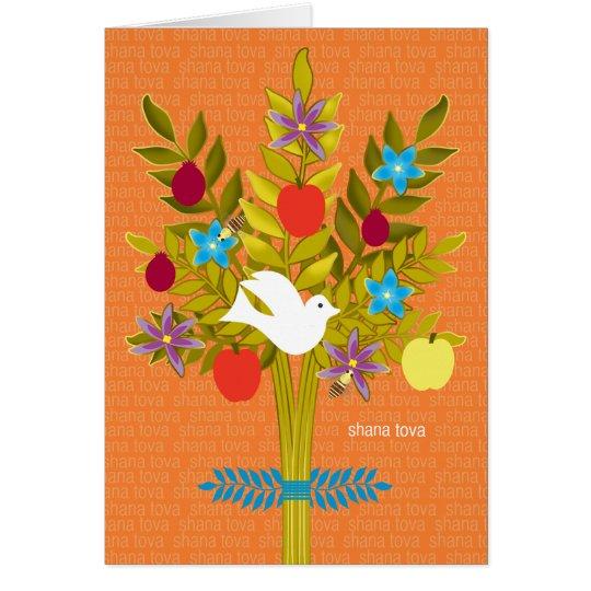 Baum Leben Rosh Hashanah der Tauben-Blumen und der Karte